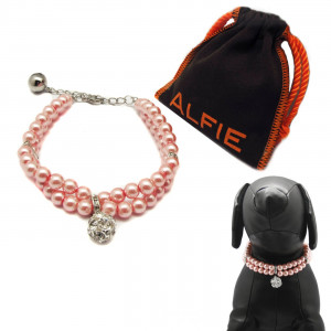 Alfie Pet by Petoga Couture - Lizbeth Double Layer Pearl Necklace for Dogs and Cats with Fabric Storage Bag, Color Pink