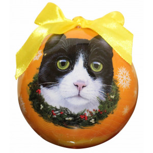 Black and White Cat Christmas Ornament Shatter Proof Ball Easy To Personalize A Perfect Gift For Cat Lovers