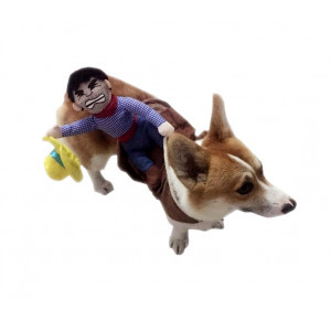 ARJOSA Puppy Dog Shirt Rider Cowboy Horse Riding Pet Costume Outfit Apparel