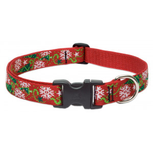 LupinePet Originals 1 Inch Christmas Cheer Adjustable Collar for Medium and Larger Dogs