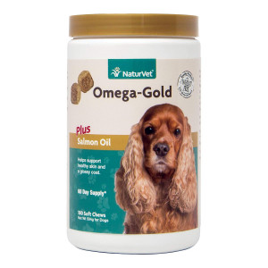 NaturVet Omega-Gold Plus Salmon Oil Skin and Coat Supplement for Dogs and Cats, Soft Chews, Made in the USA