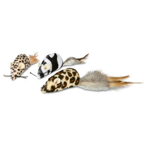 Leaps and Bounds Safari Mice Cat Toys with Catnip, Pack of 3, Assorted
