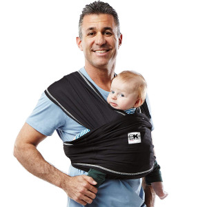 Baby K'tan Active Baby Wrap Carrier, Infant and Child Sling - Black S (Women's Dress Size 6-8 / Men's Jacket Size 37-38) Newborn up to 35 lbs. Best for Babywearing