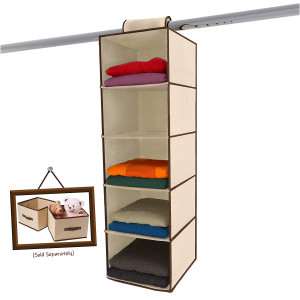 Ziz Home Hanging Closet Organizer | 5 Shelf Beige | Closet Hanging Organizer | Closet Organizer Hanging Shelves | Sweater Hanging Organizer | Hanging Clothes Storage Box Hanging Shelf Closet Organizer