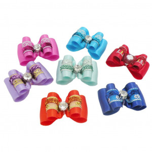 PET SHOW Bling Pet Hair Bows with Rubber Bands for Small Dogs Cat Puppy Grooming Hair Accessories Pack of 10