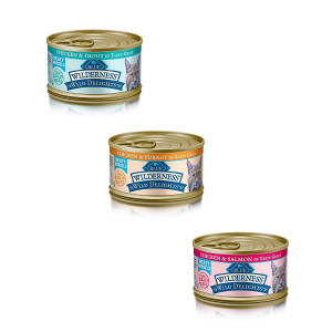 Blue Buffalo Wilderness Grain-Free Wild Delights Variety Pack Cat Food - 3 Flavors (Chicken and Trout, Chicken and Salmon, and Chicken and Turkey) - 12 (3 Ounce) Cans - 4 of Each Flavor