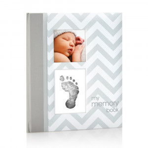 Pearhead First 5 Years Chevron Baby Memory Book with Clean-Touch Baby Safe Ink Pad to Make Baby's Hand or Footprint Included, Gray