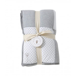 Burt's Bees Baby - Reversible Quilt Baby Blanket, Dottie Bee Print, 100% Organic Cotton and 100% Polyester Fill (Heather Grey)