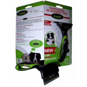 de Shedding Tool for Dog + Cat Grooming The Secret to Reducing Pet Shedding Quickly Up to 90% deshedder Tools for Dogs and Cats - Veterinary + Groomer Approved for All Pets