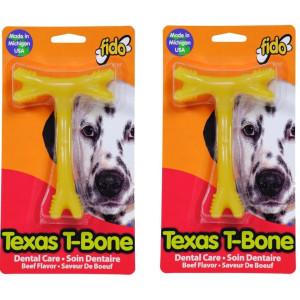 "(2 Pack) Fido Texas T-Bone Dental Dog Bone, Beef Flavored, Medium 5-1/2"""