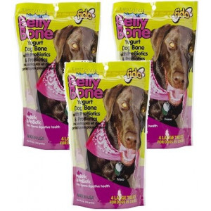 (3 Pack) Fido Belly Dog Bone, Digestion Aid w/ Prebiotic and Probiotic Enzymes, Large, 4 Treats each
