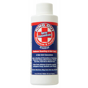 Ring Out - Ringworm and Fungus Control. Treatment and Prevention for Cats, Dogs, Sheep, Goats, Cattle, Horses, All Pets and Livestock. Concentrate Makes 32oz of Skin Safe Topical Spray For Killing Contagious Fungus, Bacteria and Viruses - Made in USA (4oz