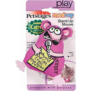 Petstages 743 Madcap Stand Up Mouse Cat Catnip Toss and Bat Plush Toy