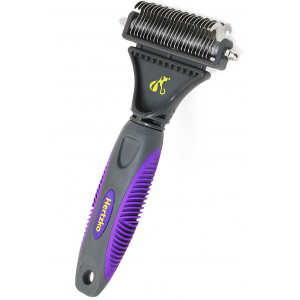 Hertzko Pet Dematting Comb Suitable for Dogs and Cats - Removes Loose Undercoat, Mats and Tangled Hair- Great Tool for Brushing and Deshedding.