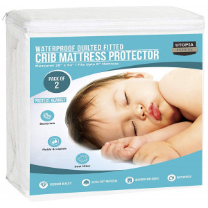 Utopia Bedding Waterproof Crib Mattress Protector - Pack of 2 - Hypoallergenic Quilted Crib Fitted - Cradle Mattress Pad
