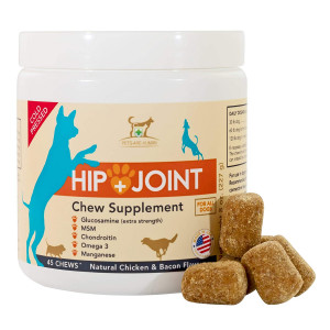 PAH Hip and Joint Pain Relief Supplement for Dogs with Glucosamine, Omega 3 Fish Oil, Chondroitin, MSM, Natural Cold Pressed, for Arthritis and Hip Dysplasia in Dogs (45 Count)