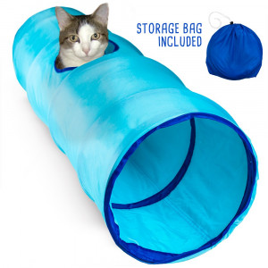 Krinkle Collapsible Cat Tunnel with Peek Hole and Storage Bag by Weebo Pets