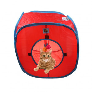 Flexible Pop Out Cat Kitty Play Cube Expandable Play Tunnel Cat Toys,with 4 Balls, Red