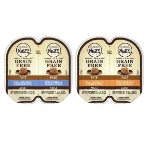 Nutro Perfect Portions Grain Free Soft Loaf Cat Food 2 Flavor 8 Can Variety Bundle: (4) Chicken and Shrimp Recipe, and (4) Salmon and Chicken Recipe, 2.6 Oz. Ea. (8 Cans Total)