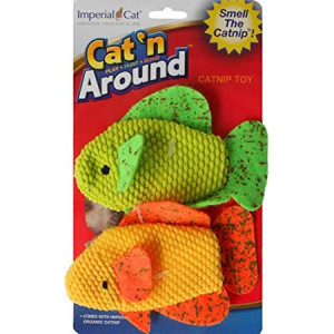 Imperial Cat Cat 'n Around Toys (on Hang Card) Neon Fish Duo Catnip Toy