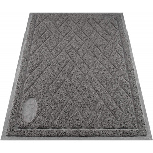 Pawkin Cat Litter Mat - Patented Design with Litter Lock Mesh - Durable - Easy to Clean - Soft - Fits Under Litter Box - Litter Free Floors