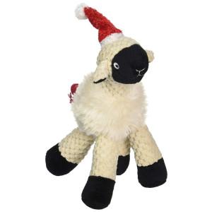 Pet Lou Christmas Holiday Long Legged Sheep Lamb Plush Dog Toy - 9 Inches