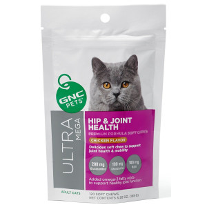 Hip and Joint Health Premium Soft Chews For Adult Cats Yummy Chicken Flavor 120 Count by GNC ULTRA MEGA