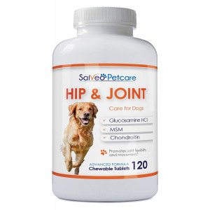 Salveo Petcare Glucosamine for Dogs 800mg Advanced - Hip and Joint Supplement with MSM Chondroitin and Vitamins C and E - 120 Beef Flavoured Chewable Tablets - Arthritis Pain Relief and Mobility