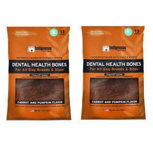 (2 Pack) Indigenous Dental Health Bones Carrot and Pumpkin Flavor - 17 Ounces each