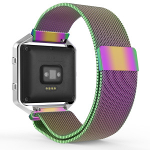 MoKo Fitbit Blaze Band, Milanese Loop Mesh Stainless Steel Bracelet Watch Strap for Fitbit Blaze Smart Fitness Watch with Unique Magnet Lock, No Buckle Needed, Frame NOT Included -Colorful
