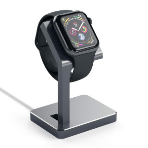 Satechi Aluminum Apple Watch Charging Stand Dock - Compatible with Apple Watch Series 1, 2, 3 and 4 for 38mm and 42mm models (Space Gray)