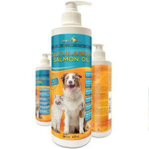 TerraMax Pro Premium Wild Alaskan Salmon Oil for Dogs and Cats All-Natural Omega-3 Food Supplement Over 15 Omega's EPA - DHA Fatty Acids Natural Astaxanthin - Vitamin D!