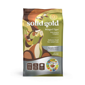 Solid Gold - Winged Tiger - Real Quail and Pumpkin - Grain-Free and Gluten-Free - Holistic Sensitive Stomach dry cat food for Adult and Senior Cats