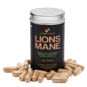 Lion's Mane Mushroom, 60 Capsules | 500mg Each, Nerve Growth Factor (NGF) and Nootropic (Focus and Memory), Dual Extract, Fruiting Bodies, 30% Beta-D-Glucans