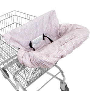SUPER SALE! WATERPROOF 2-in-1 Shopping Cart Cover and High Chair Cover for Baby and Toddler with Safety Harness (Calm Pink)