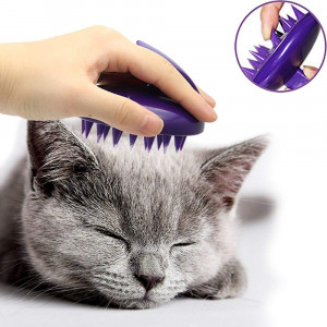 CELEMOON Ultra-Soft Silicone Washable Cat Grooming Shedding Massage/Bath Brush - Safe and No Scratching Any More