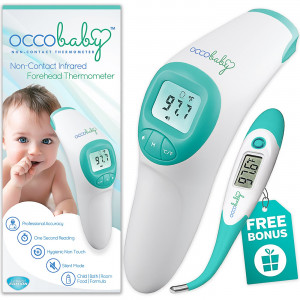 OCCObaby Clinical Forehead Baby Thermometer - 2018 Edition with Flexible Tip Waterproof Digital Thermometer for Infants and Toddlers | Instant Read Non-Contact Infrared Scanner