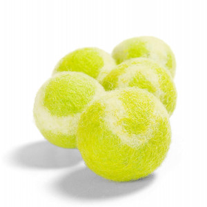TennisWools - All Natural Cat Toys and Tennis Balls For Small Dogs - 5 Pack - 100% merino wool