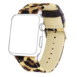 Bandmax Fabric Replacement Strap Compatible Apple Watch,Bandmax Stainless Steel Metal Clasp Buckle Comfortable Denim Fabric Watch Band Compatible iwatch Series 4/3/2/1(Leopard Pattern 38MM/40MM)