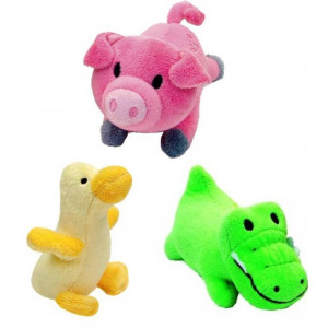 Li'l Pals Interactive Plush Small Size Squeaker Toy 3 Shape Variety Bundle: (1) Pink Pig, (1) Green Gator, and (1) Yellow Duck