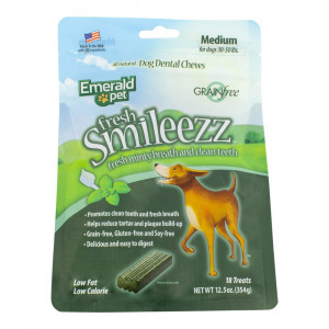 EMERALD PET - Fresh Smileezz Medium Grain-Free Dog Dental Treat, All Natural, for Healthy Canine Teeth (12.5 Ounce)