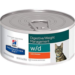 Hill's Prescription Diet w/d Digestive Weight Management with Chicken Canned Cat Food 24/5.5 oz