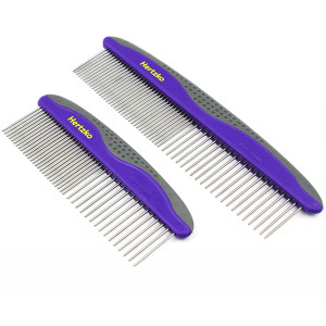Hertzko 2 Pack Pet Combs Small and Large Comb Included for Both Small and Large Areas -Removes Tangles, Knots, Loose Fur and Dirt. Ideal for Everyday Use for Dogs and Cats with Short or Long Hair