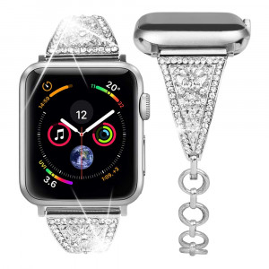 Goton Jewelry Band Compatible with Apple Watch Band 44mm 42mm, Women Dressy Retro Bling Crystal Diamond Stainless Steel Replacement Bracelet for iWatch Band Series 4 3 2 1 (Silver, 44/42mm)