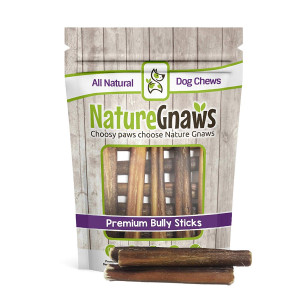 Nature Gnaws Large Bully Sticks 5-6 inch - 100% Natural Grass-Fed Beef Dog Chews
