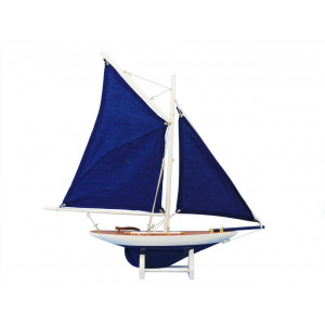 Hampton Nautical Wooden America's Cup Contender Dark Blue Model Sailboat Decoration, 18""
