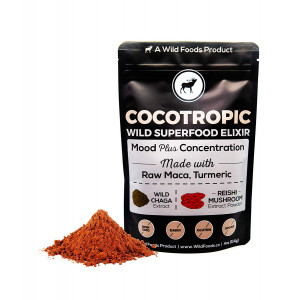 Wild Cocotropic Raw Cacao Drink Elixir with Reishi, Chaga, Raw Maca, Turmeric | Nootropic Hot Cocoa Beverage, Add to Smoothies, Shakes, Coffee (4 ounce)