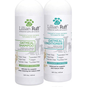 Lillian Ruff Dog Oatmeal Shampoo and Conditioner Set - Lavender Coconut Scent for Itchy Dry Skin with Aloe- Deodorize and Soothe - Gentle Cleanser for Normal to Sensitive Skin (16oz.)