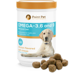 POINTPET Omega 3 6 9 for Dogs, Skin and Coat Fish Oil Supplement, Natural Fatty Acids with EPA and DHA, Helps with Dry and Itchy Skin - Supports Immune, Heart and Brain Health, 120 Soft Chews