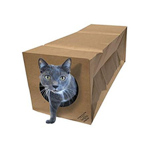 Dezi and Roo Hide and Sneak Collapsible Paper Cat Tunnel Made in The USA -Your Cat's New Favorite Toy - Fun Interactive Cat Toy - Activity Play Tunnel - Hidewaway